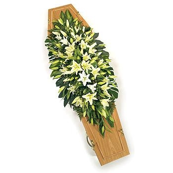 Double ended White Lily casket Spray