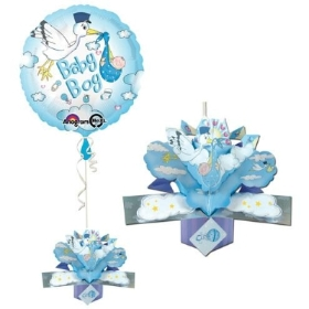Boy blue Stork Balloon and pop up card