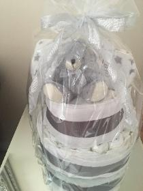 Three tier Grey Nappy Cake
